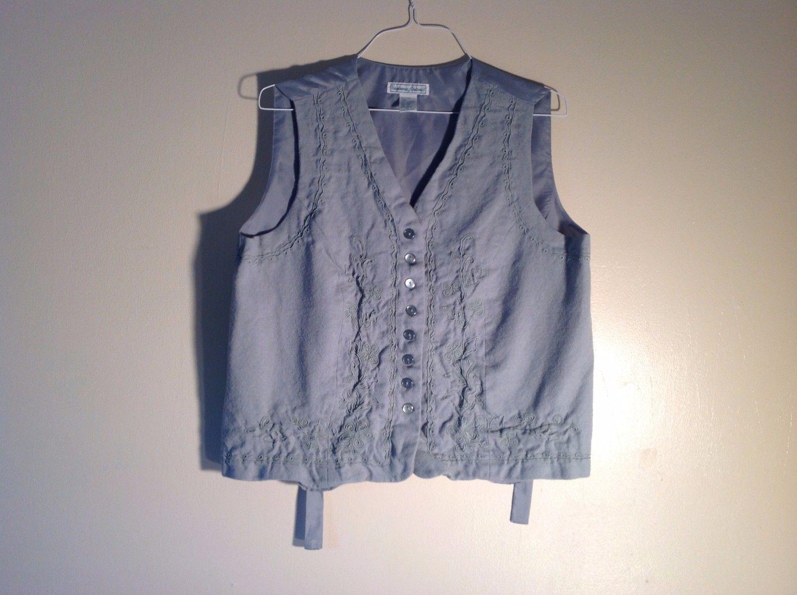 Stephanie Andrews Soft blue-gray vest