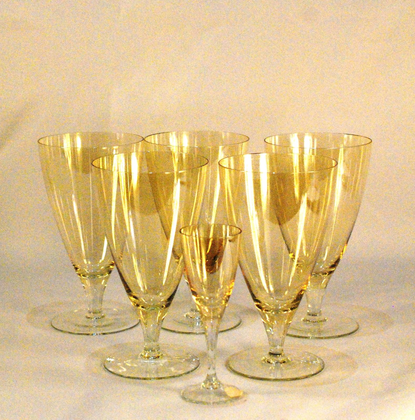 Bohemia Crystal S/5 Glasses Stem Wine Water Gold