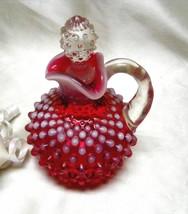 2760 Vintage Fenton Cranberry Opal Hobnail Cruet w/Crown Stopper - $99.50