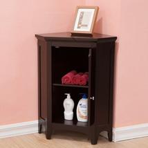 Bathroom Furniture Floor Cabinet Corner Storage Space Saver Espresso Shu... - $258.18