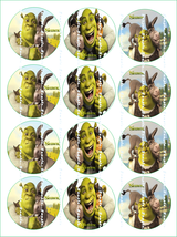 SHREK:  12 edible image cupcake toppers 2.25 in... - $8.78 - $8.78