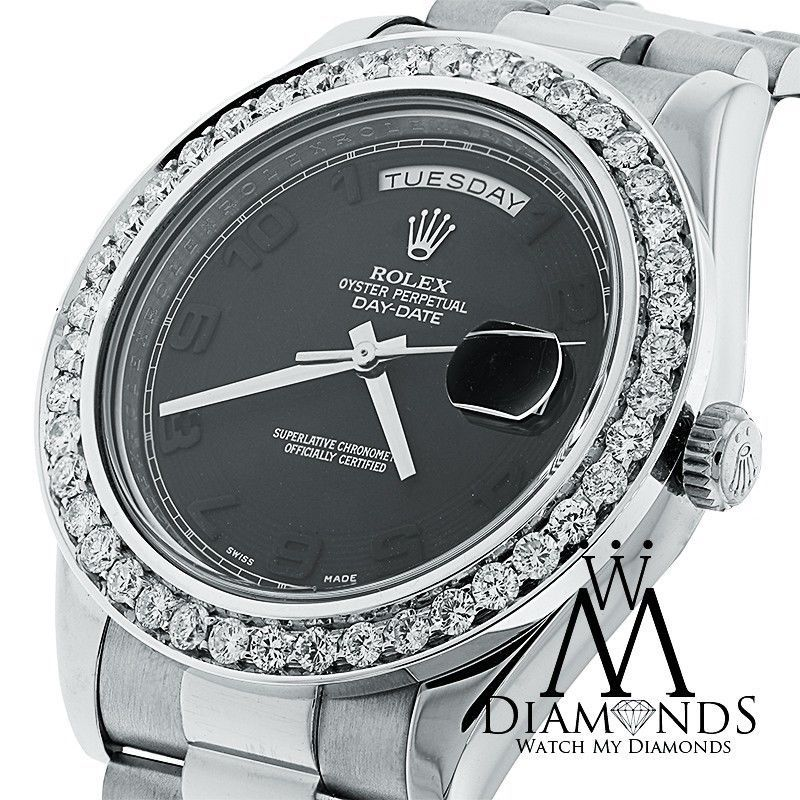 Rolex Day-Date II Presidential White Gold - Diamond Bezel - 218239 bkcap