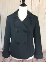 Talbots Black Cotton Silk Blend Jacket Blazer Double Breasted Size 14 - $32.68
