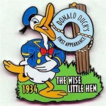 Disney Donald Duck  1st  Movie The Wise Little Hen dated  1934  Pin/Pins - $19.98