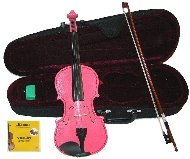 Lucky Gifts 1/16 Size Beginner, Student Violin,Case,Bow,2 Sets Strings ~ Pink