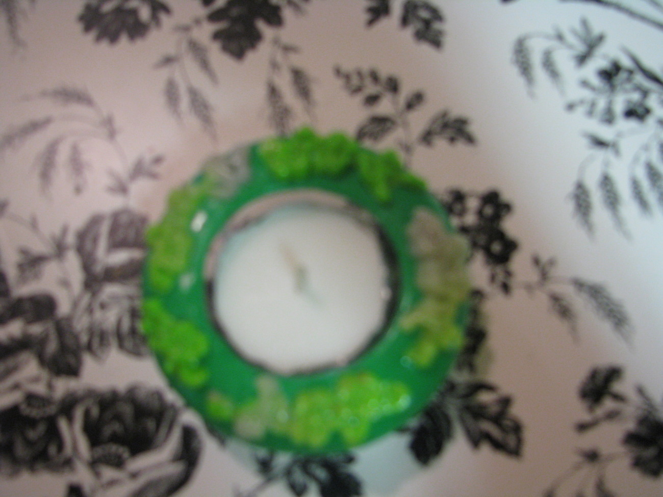 Green and Translucent Polymer Clay Tealite Candle Holder