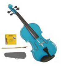 Lucky Gifts 1/10 Size Beginner, Student Violin,Case,Bow,2 Sets Strings ~ Blue - $50.00