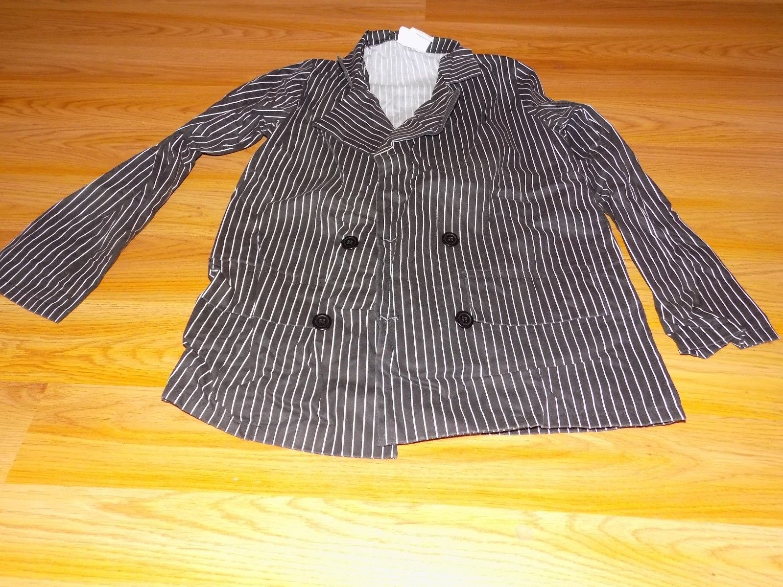 Size Medium 8-10 Gangeter Halloween Costume Black White Striped Pants Jacket EUC