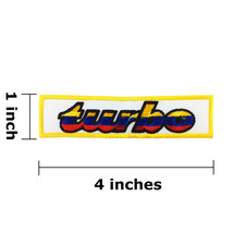 TURBO Logo Embroidered Iron On Patch - $1.00