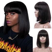 Bob Wig With Bangs Human Hair Machine Made Glueless None Lace Black Long... - $64.87