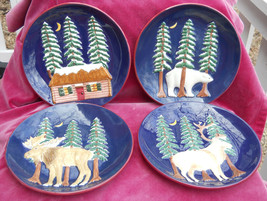 AMERICAN ATELIER NORTHERN NIGHTS SALAD PLATES 4 CABIN POLAR BEAR MOOSE E... - $34.64