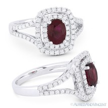 1.89 ct Natural Oval Ruby & Diamond Pave Halo Engagement Ring in 18k Whi... - €2.965,04 EUR