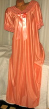 Mandarin Orange Nylon Long nightgown with Bow 2X Lace Trim - $23.00