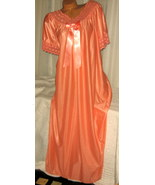 Mandarin Orange Nylon Long nightgown with Bow 1X 2X Lace Trim - $23.00