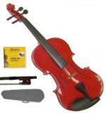 Lucky Gifts 4/4 Size Beginner, Student Violin,Case,Bow,2 Sets Strings ~ Red