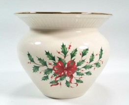 Lenox Porcelain Holiday Cachepot Planter Vase Holiday Design Holly Berri... - $23.76