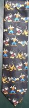Disney Goofy Donald Duck Pluto dog Mickey Mouse polyester black tie - $16.44