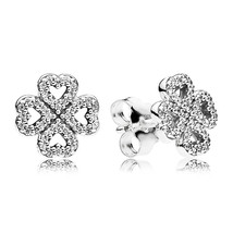 925 Sterling Silver Petals of Love & Clear CZ Stud Earrings QJCB834 - $20.89