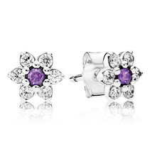 925 Sterling Silver Forget Me Not with Purple CZ Stud Earrings QJCB859 - $19.98