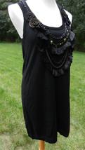"""NANETTE LEPORE Black Sleeveless Knit Dress """"Vanity Fair"""" Beaded Neckline... - $221.93 CAD"""