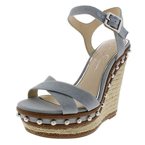 Jessica Simpson Aeralin Wedge Sandals Vintage Blue Denim 7