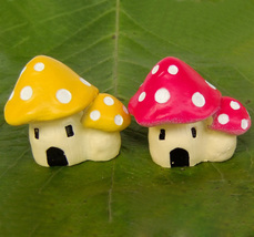 Mushroom House Toadstool Red Yellow Fairy Garden Terrarium Doll Figurine... - $6.99