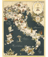 1949 Gastronomical Wall Map of Italy Cuisine Food Regions Italian Poster... - $12.87+