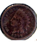 1897 INDIAN HEAD CENT - BRONZE ISSUE - BTR DATE... - $10.50