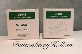 2 Rolls Crystal Clear Uline Transparent Tape Di... - $4.95