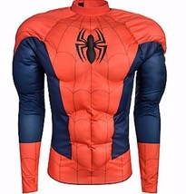 Mens Spider-Man Muscle Shirt and Satin Mask Set Halloween Costume Fancy ... - £30.93 GBP