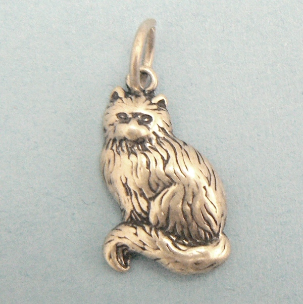 Sitting Kitty Cat Sterling Silver Charm