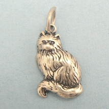 Sitting Kitty Cat Sterling Silver Charm - $14.95
