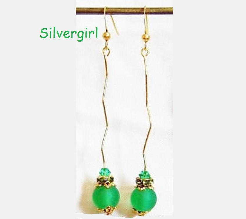 Stick gold plate frosted green glass dangle earrings