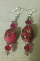 Artisan Handmade Red Lampwork Blown Glass Crystal Mixed Bead Dangle  Ear... - $6.99