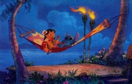 Disney Lilo & Stitch Playing Guitar on a hammock  Lithograph - $24.18