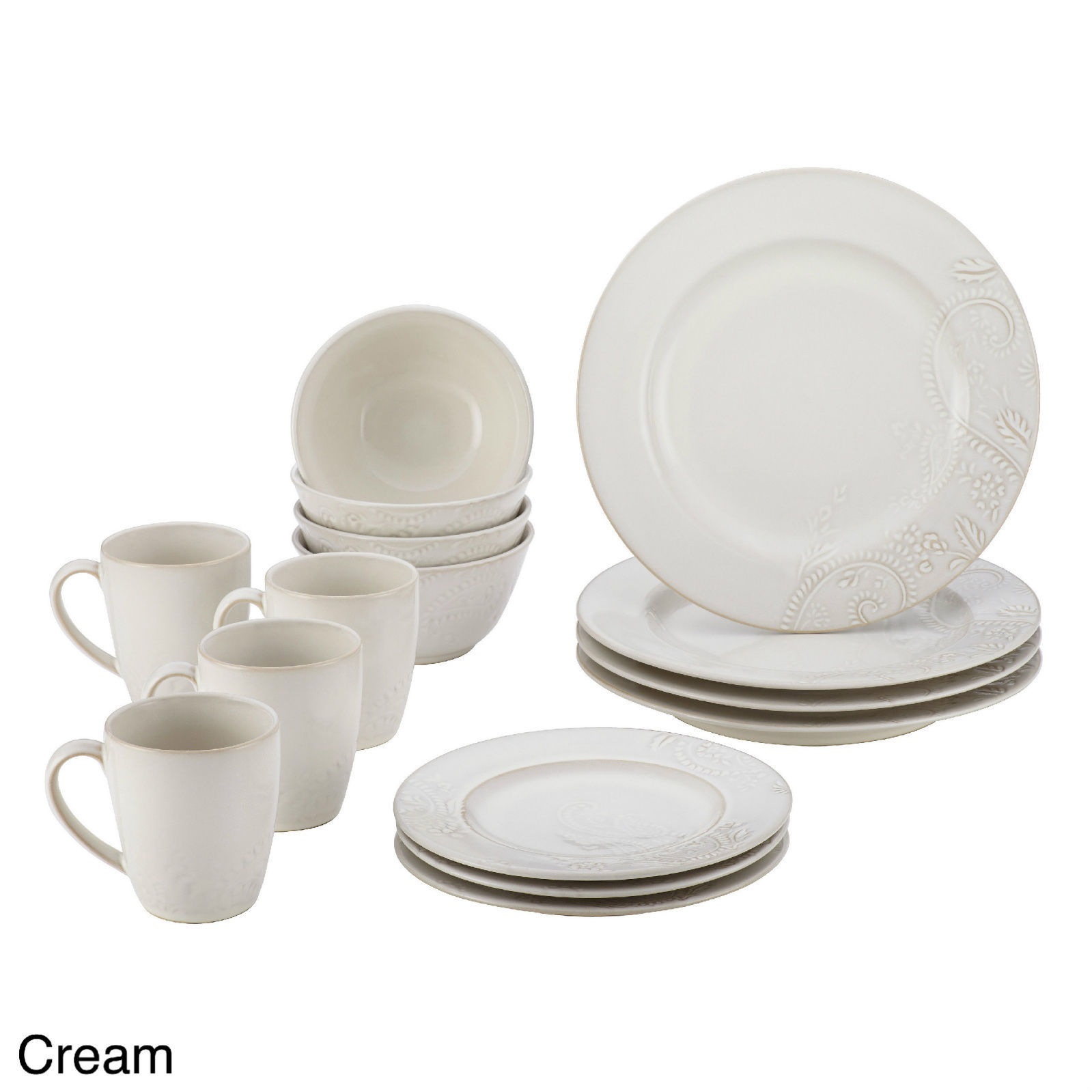 16 pc dinnerware set dinner plates dishes bowls mugs round for Kitchen dish sets
