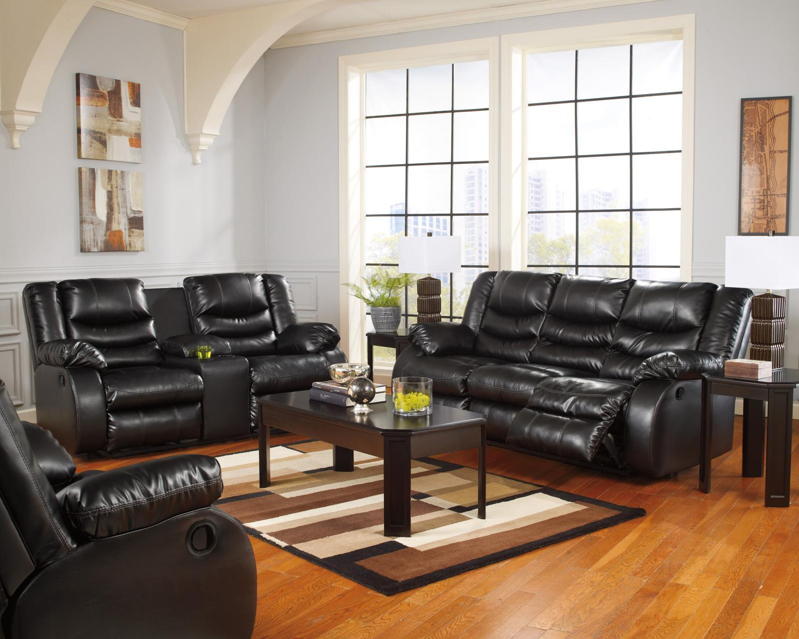 Ashley Linebacker DuraBlend Living Room Set 3pcs in Black Contemporary Style