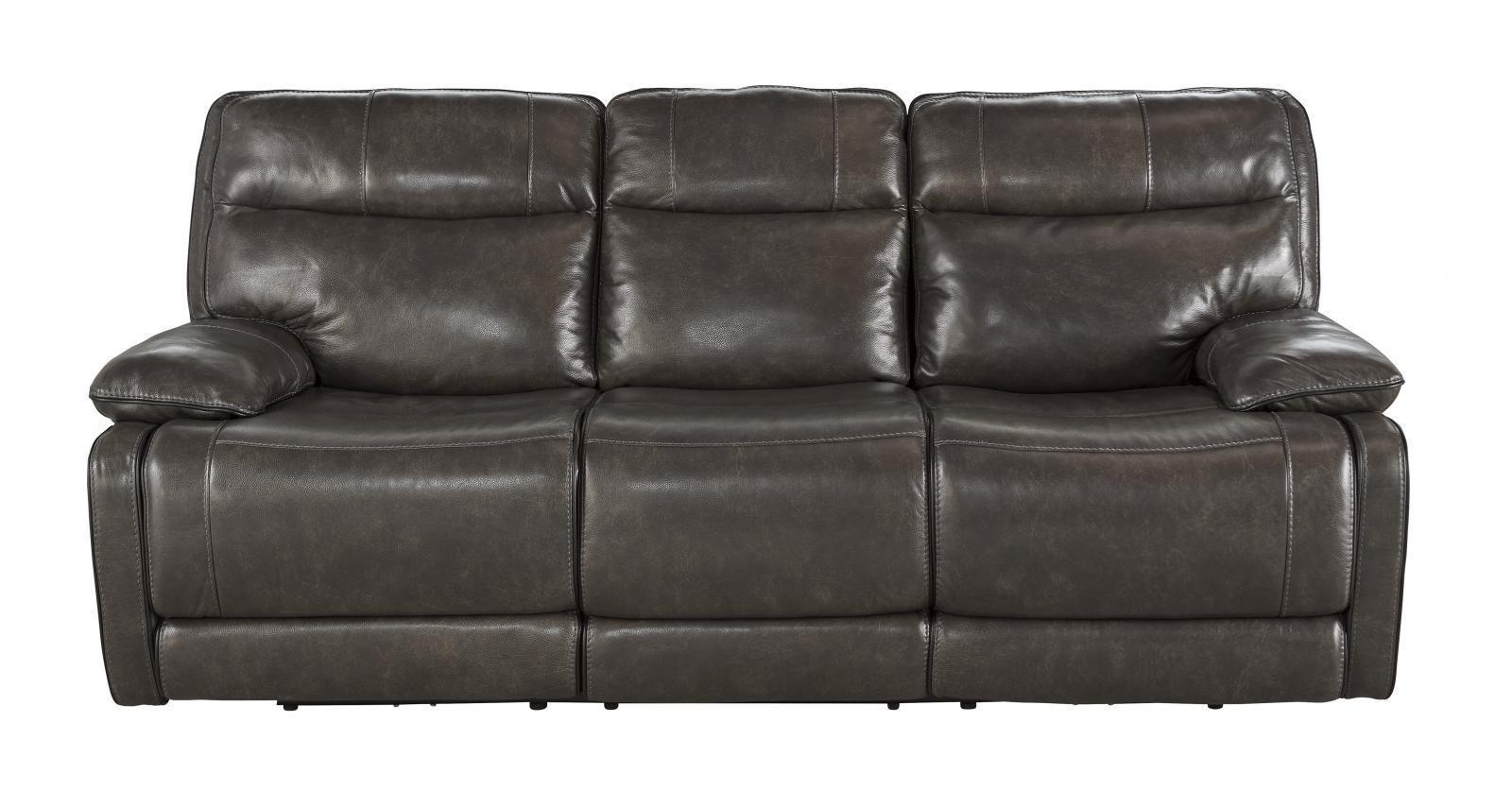 Ashley Palladum Living Room Reclining Sofa in Metal Genuine Leather Contemporary