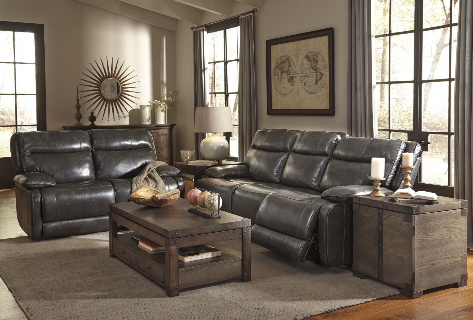 Ashley Palladum Living Room Set 2pcs in Metal Genuine Leather Contemporary Style