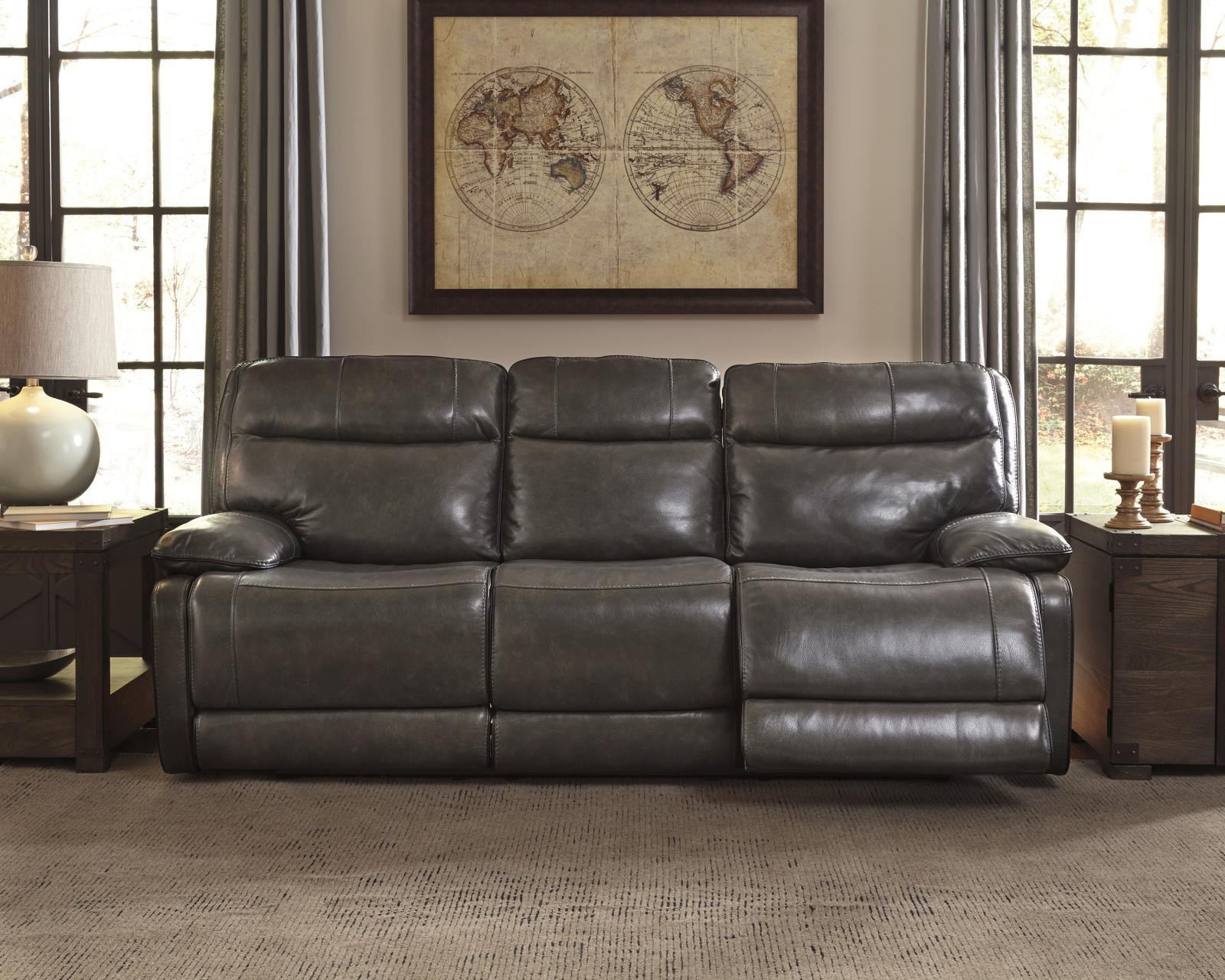 Ashley Palladum Living Room Power Reclining Sofa in Metal Contemporary Style