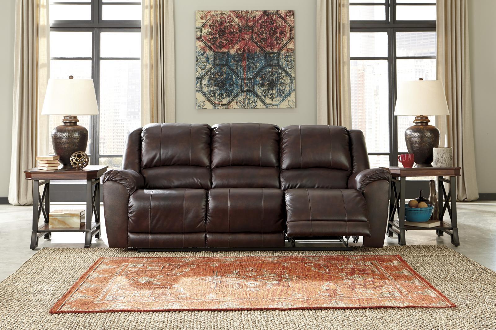Ashley yancy reclining sofa in walnut top grain leather for Ashley encore grain chaise