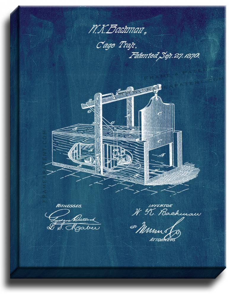 Primary image for Mousetrap Patent Print Midnight Blue on Canvas