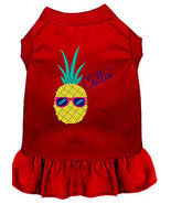 Pineapple Chillin Embroidered Dog Dress Red Lg - $25.98