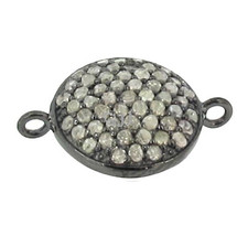 Pave diamond 925 sterling silver connector bead findings for Jewelry making - $108.50