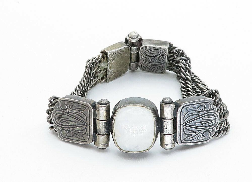 KOUKOS 925 Silver - Vintage Cabochon Cut Moonstone Chain Bracelet - B5938