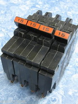 """Nice Lot Of 4 - Federal Pacific Stab Lok Fpe 15 Amp 1/2"""" Thin Breakers Type Nc - $19.75"""