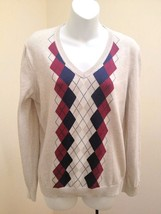 Tommy Hilfiger L Sweater Beige Argyle V Neck Long Sleeves Classic - £15.33 GBP
