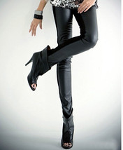 Sexy Stand Out Look - Hot Women Lady Black Faux Leather High Waist Leggings - $6.44
