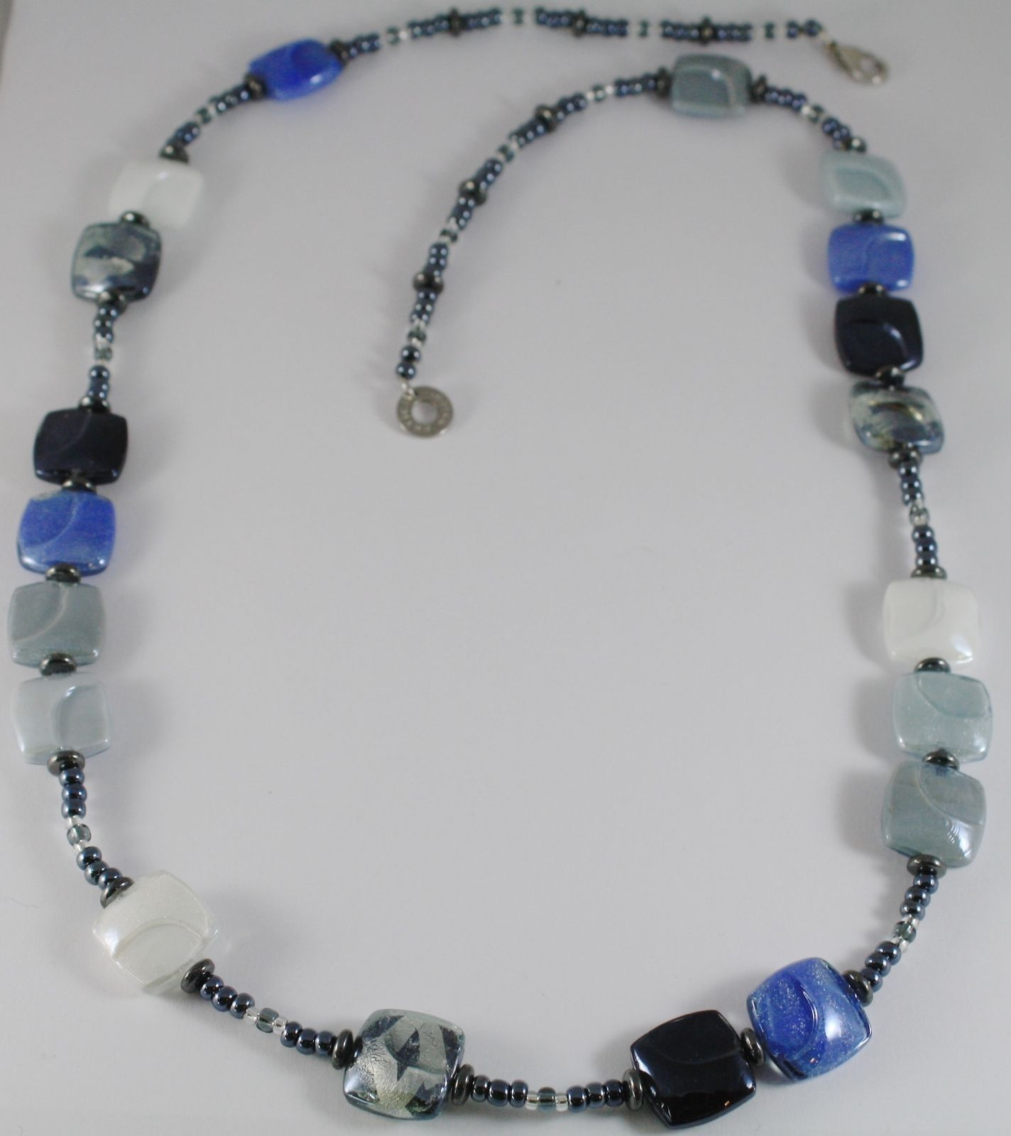 ANTICA MURRINA VENEZIA LONG 80 CM NECKLACE GRAY WITHE BLUE SQUARE SQUARES