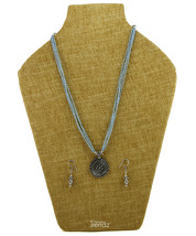 Womens Trendz Round Blue Oxidized Necklace and Earring Set - $40.00